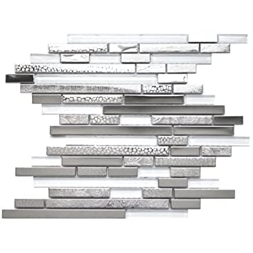 Modern Random Mixed Stainless Steel Tile With White Glass And Textured Metal Kitchen Backsplash