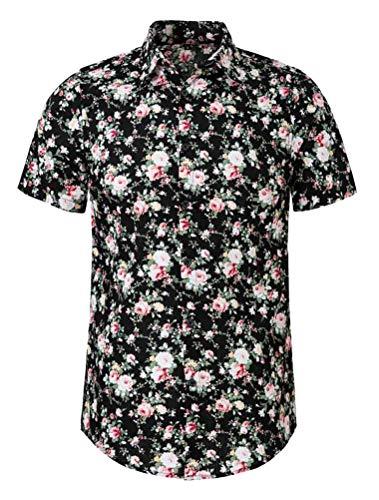 THWEI Mens Tropical Hawaiian Shirt Short Sleeve Aloha Slim Fit Button Down Shirt-Black-XL(US 40-42)