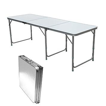 QITAO® 1,8 m Table Pliante en Aluminium Coffre de Voiture  Buffet/Mariage/Jardin/fête de Rue in/Out Porte/marché/Fete/Fair Pliable