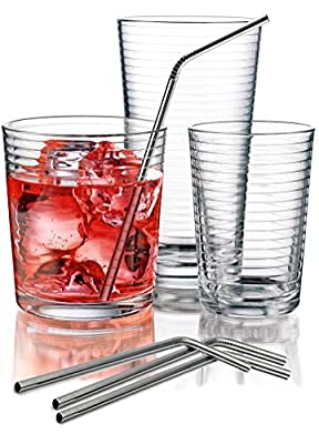 Durable Solar Design Drinking Glasses Set of 12 - Includes 4 Highball Glasses 4 DOF Glasses 4 Juice Glasses and 4 Stainless Steel Straws - Beautiful Drinkware Set