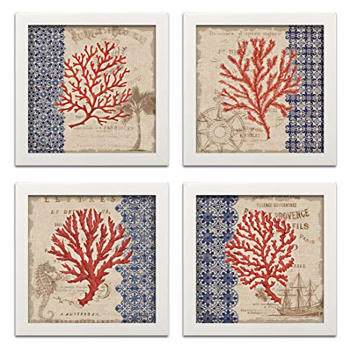Gango Editions Red Tan and Blue Coral Collage Art, Coastal Decor; Four 12 by 12-Inch White Framed Prints; Ready to Hang! Blue/Brown/Red ()