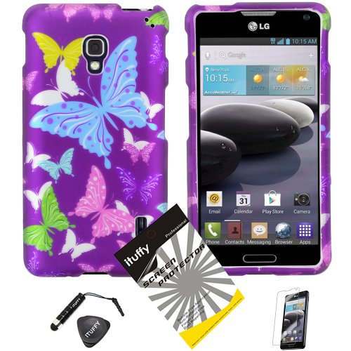 4-items-Combo-ITUFFY-TM-LCD-Screen-Protector-Film-Mini-Stylus-Pen-Case-Opener-Purple-Pink-Green-Yellow-Blue-Multi-Color-Butterfly-Design-Rubberized-Snap-on-Hard-Shell-Cover-Faceplate-Skin-Phone-Case-f
