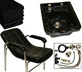 LCL Beauty Shampoo Package: Comfort-Curve Contemporary Slingback Shampoo Chair & Black Ceramic Shampoo Bowl