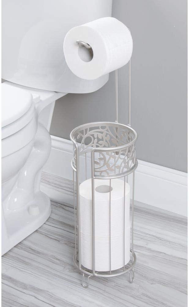 moderner Papierrollenhalter f/ürs Badezimmer mit Halter f/ür 3 Reserverollen Klopapierhalter f/ür mehrere Rollen bronzefarben mDesign Toilettenpapierhalter stehend