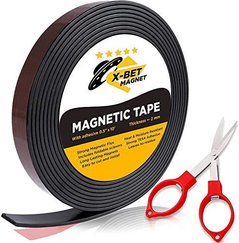 Flexible Magnetic Tape – 1/2 Inch x 10 Feet Magnetic Strip with Strong Self Adhesive – Ideal Magnetic Roll Tape for DIY…