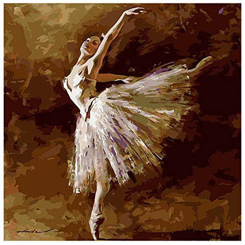 Adarl DIY Oil Painting Paint by Number Kit Image Drawing On Canvas by Hand Coloring Arts Crafts & Sewing New Ballet - Oil Ballet Painting