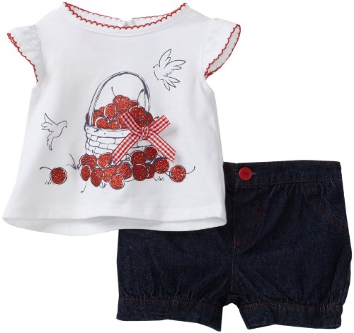 Babytogs Baby Girls' Knit Tee With Cherries In Basket Check Bow Bubble Short