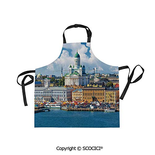 SCOCICI Fabric Durable Unisex Apron with 2 Pockets-Extra Long Ties, Scenic Summer of The Market Square Old Town Helsinki Finnish Northern Skyline Home,Home Baking or Kitchen Cooking