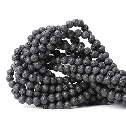 CHEAVIAN 6mm 60PCS Black Lava Volcanic Stone Gemstone Round Loose beads For Jewelry Making 1 Strand 15