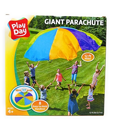 Price comparison product image Play Day Giant 12 feet wide Colorful Parachute with 8 Easy To Hold handles