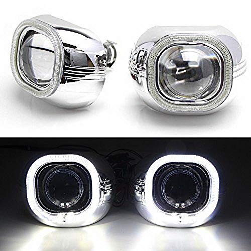 (iJDMTOY (2) 3.0-Inch H1 Bi-Xenon HID Projector Lens w/Xenon White Square LED Halo Ring Shrouds For Headlight Retrofit, Custom Headlamps Conversion )