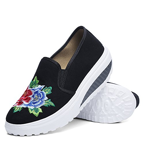 Up Canvas Embroidery Fitness On Slip Platform Walking Women Shape Sneakers EnllerviiD Shoes Toning Black qwzCg5E