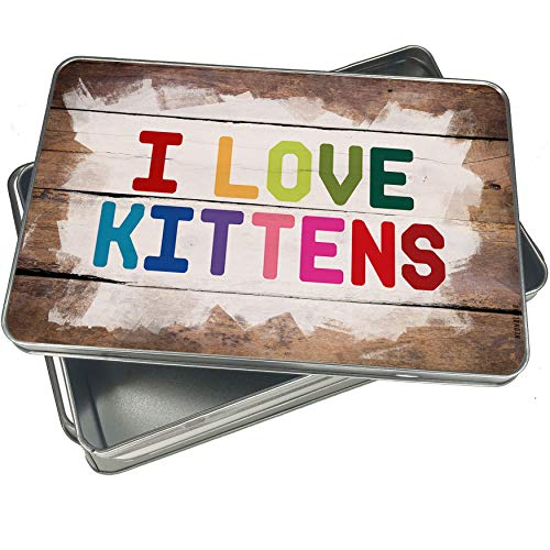 NEONBLOND Cookie Box I Love Kittens,Colorful Christmas Metal Container