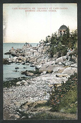 Lookout at Cape Casino showin Atlantic Ocean Cape Elizabeth ME postcard 1910