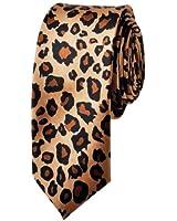 TopTie Unisex Fashion Leopard Spotted Slim Tan & Black Skinny 2 Inch Necktie Tie