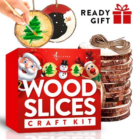 Easy Diy Christmas Ornaments (Wood Slices Kit, 24 Natural Unfinished Round Wooden Discs, 14 Artistro Acrylic Marker pens, Black Paint, Craft Supplies for Kids & Adults - Art Kit for Christmas Ornaments & DIY,)
