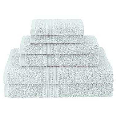 Superior Eco-Friendly 100% Ringspun Cotton, 6 Piece Towel Set in Aqua Marine