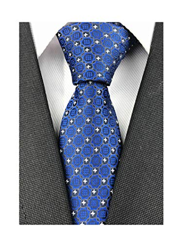Men Boys Bright Blue Jacquard Woven Novelty Silk Tie Office Ball Party Unique Necktie New ()