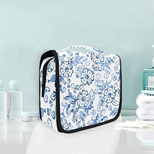 Mr.XZY Blue And White Porcelain Pattern Series Cosmetic Makeup Bag Chinese Style Purple Flower Hanging Toiletry Bag, Travel Organizer Travel Kit For Women Girl 2010955