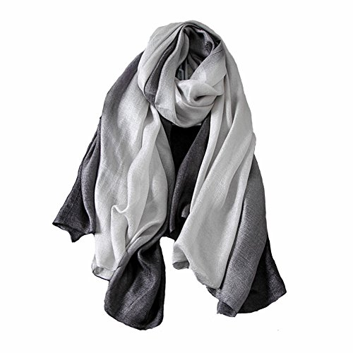 Ladies linen scarf and shawl,Gradient Colors Scarves---Sun Protection, Cycling, Beach Towels (black and (Black Linen Scarf)