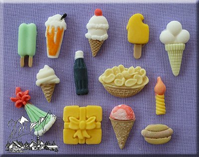 Party Time Ice Cream American Diner 3D Silicone Cake Decorating Mould Ideal For