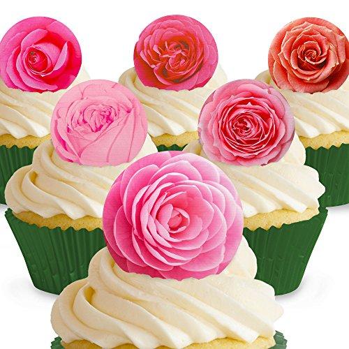 Cakeshop 12 x PRE-CUT Pink Roses Edible Cake