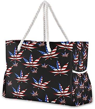 ビーチバッグ ビーチトートバッグ アメリカ 葉 旗 プールバッグ ショッピング 軽量 旅行 アウトドア 大容量 トイレタリー 手提げバッグ ピクニック 水泳バッグ 海水浴 温泉 ポケット付き リゾート