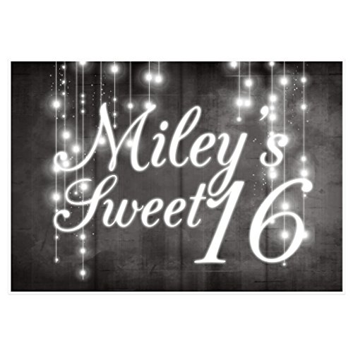 String Lights Personalized Sweet Sixteen 16 Birthday Banner