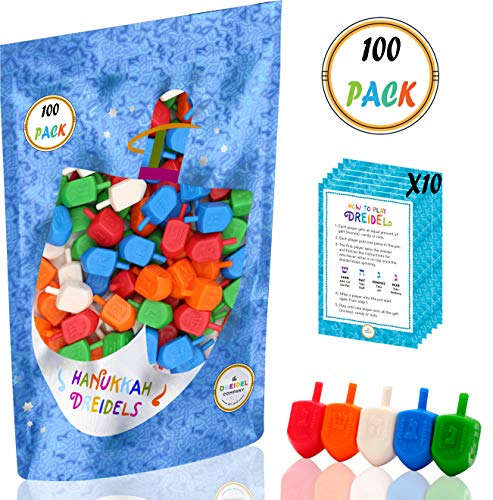 Hanukkah Dreidels Bulk Pack Multi-Color Plastic Draydels - Includes 10 Dreidel Game Instruction Cards (100-Pack)]()