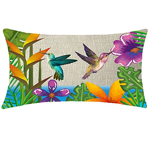 NIDITW Enjoy Summer Beautiful Hummingbird Tropical Plants Flowers And Palm Leaves Waist Lumbar Cotton Linen Throw pillow case Cushion Cover Sofa home decorative Long Oblong 12x20 Inches ()