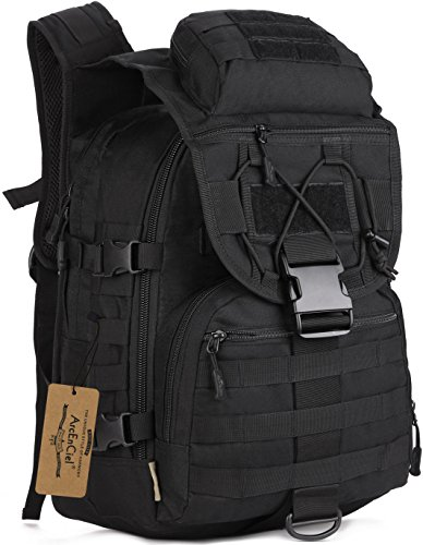 ArcEnCiel Camping Bags Waterproof Molle System Backpack Military 3P Tad Tactical Backpack Assault Travel Bag Cordura -Rain Cover Included (Black)