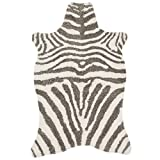 3'6 x 5'6 Brown Ivory Hand Tufted Stripe Faux Fur Zebra Shag Area Rug, Polyester Lively Safari Animal Africa Wilderness Shaggy Novelty Free Form, Indoor Bedroom Living Room Accent Carpet