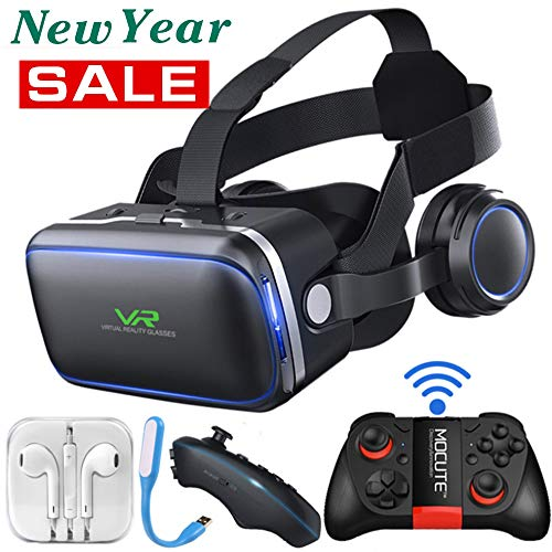 Tang VR Headset, 3D VR Glasses, 108°FOV, HD Virtual Reality Headset with Eye Protection, with Remote Control and Gamepad for iPhone, Samsung and Other Smartphones, 4.5-6.0 inch Screen