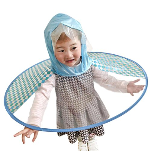 Hunputa Creative UFO Waterproof Hands Free Umbrella Rain Hat Headwear Cap Raincoat Outdoor Fishing Golf Child Adult student Rain Coat Cover Umbrellas (Blue, M(6-12 Years)) - 12 Walk Out Jacket
