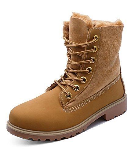 HeelzSoHigh Damen kamelhaarfarbene Zum Schnüren Wüste Warm Fleecefutter Bequem Stiefeletten Schuhe Größen 3-8