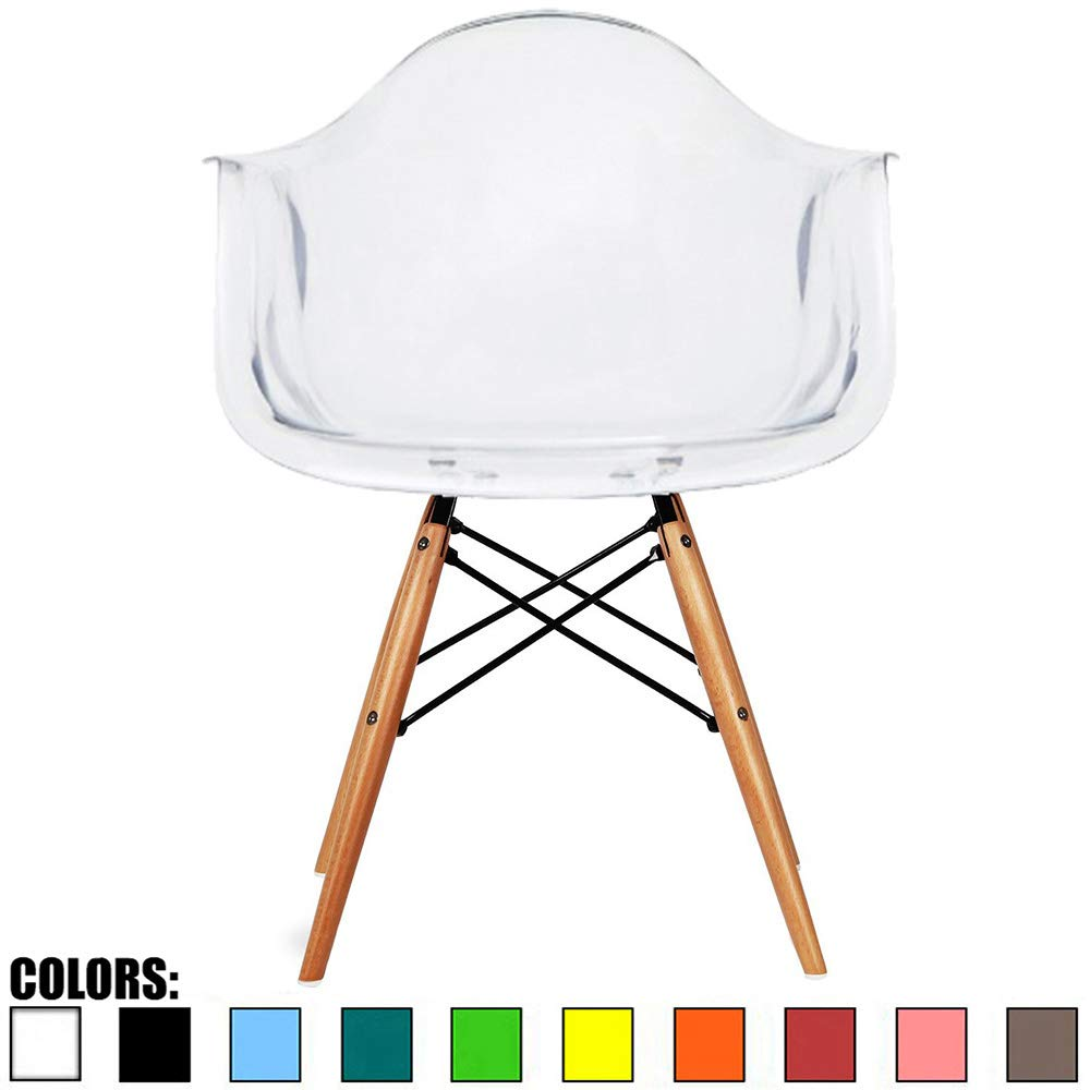 2xhome - Plastic Armchair Natural Wood Legs Eiffel Dining Room Chair - Lounge Chair Arm Chair Arms Chairs Seats Wooden Wood Leg Dowel Leg Legged Base (Clear)