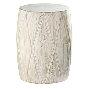 Holly & Martin Saco Distressed White Drum Side Table