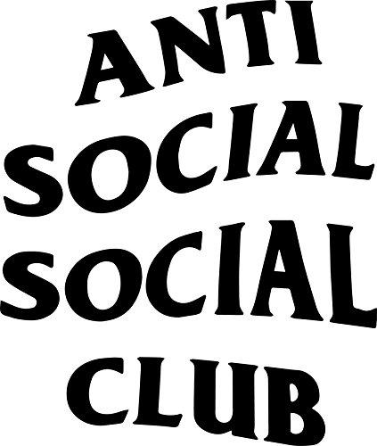 ANGDEST Anti Social Social Club (BLACK) (set of 2) Premium Waterproof Vinyl Decal Stickers for Laptop Phone Accessory Helmet Car Window Bumper Mug Tuber Cup Door Wall (Club Decal)