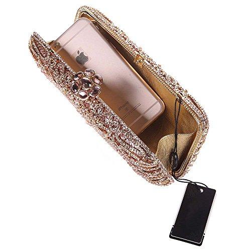 Cristallo Borse Borsa Donna Nozze Sera Impresso Bagsuette Di Amovibile 3 Oro Pochette Tracolla Festa Del Da Con Santimon Fiore Diamante Colori q8gzn