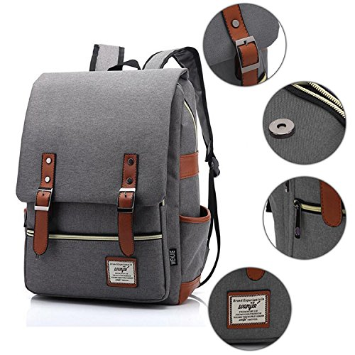 Vintage Canvas Backpack - Lightweight Canvas Laptop Outdoor Backpack, Travel Backpack with Laptop Sleeve, College School Bag with Side Pockets Canvas Rucksack for School Working Hiking (Retro Grey) by GoTravel2 (Image #3)