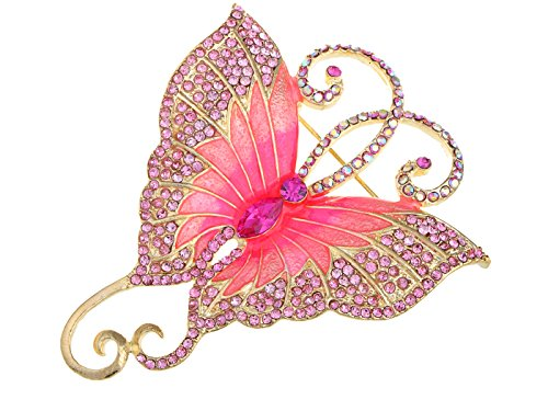 (Alilang Golden Tone Pink Rhinestones Big Butterfly Asymmetrical Tail Wings Brooch Pin)