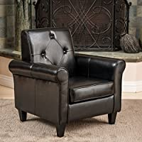 Barzini Black Leather Club Chair