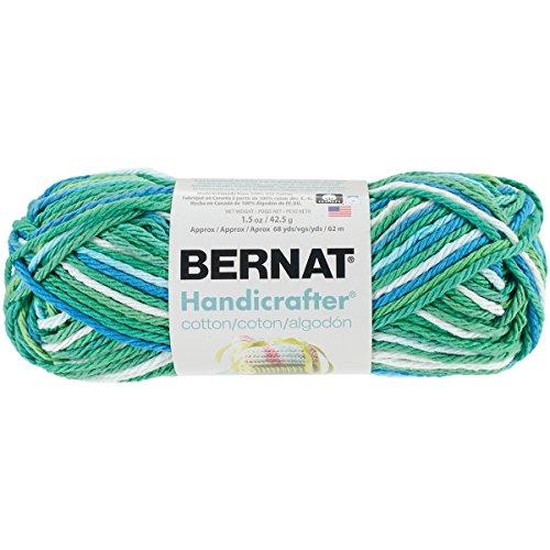 Bernat Handicrafter Cotton Yarn (Bernat Handicrafter Cotton Ombre Yarn - (4) Medium Gauge 100% Cotton - 12 oz - Emerald Energy   -  Machine Wash & Dry)