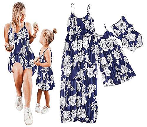 Mommy and Me Dresses Floral Print Spaghetti Straps Maxi Dress Family Matching Sleeveless High Waist Long Dress Sundress (Dark Blue, Baby/12-18 -