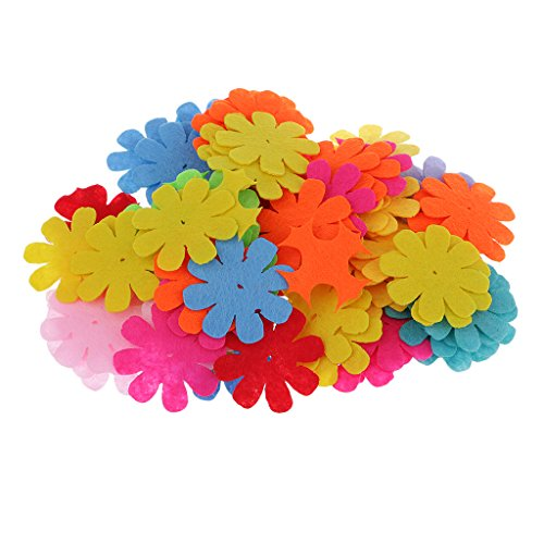 MagiDeal 100 Pieces Assorted Colors Felt Flowers Embellishment Fabric Flower & Brooch Back Non-woven Felt Patches for Scrapbooking Card Making DIY Craft Projects - Eight -