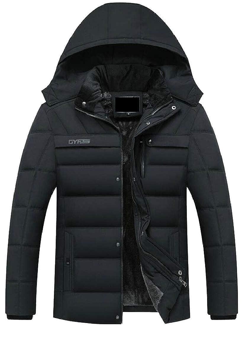 493201cd46a Black QD-CACA Mens Front-Zip Front-Zip Front-Zip Faux Fur Lined Thick  Winter Warm Slim Fit Down Jacket Coat 76dc98