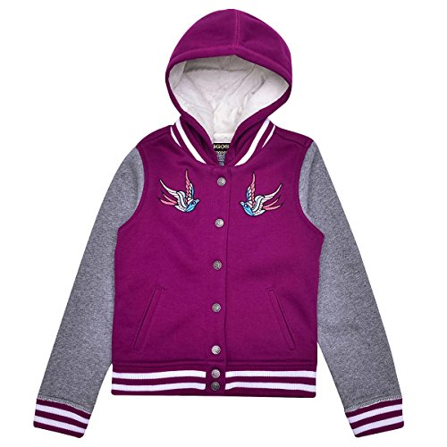 VIGOSS Hooded Varsity Style Jacket For Girls (10, Burgundy)