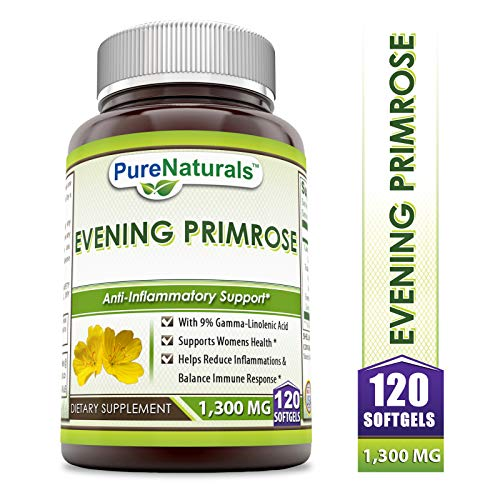 Pure Naturals Evening Primrose Softgels 1300 Mg 120 Softgels- with 9% Gamma-Linolenic Acid* Supports Womens Health* Helps Reduce Inflammations & Balance Immune Response*