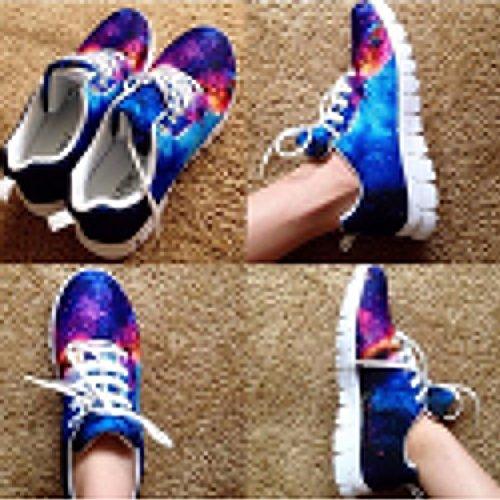 Showudesigns Fashion Lace up Sneaker Women Running Sport Shoes Galaxy Printing Color 2 u7ZXCDVB