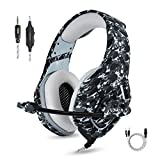 Gaming Headset for PS4 Nintendo Switch Headset with Mic for New Xbox One S PC Laptop DS PSP PS2 Pro Surround Stereo Sound Noise Canceling Headphones Gamer Microphone Volume Control Camouflage